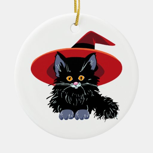 Happy Halloween Black Cat Christmas Tree Ornaments