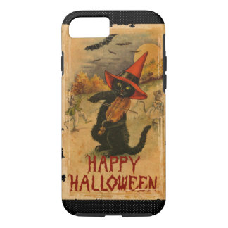 Happy Halloween Black Cat Playing Fiddle Bats iPhone 8/7 Case