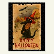 Happy Halloween Black Cat Playing Fiddle Bats Postcard