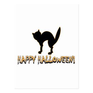 Happy Halloween Black Cat Post Card