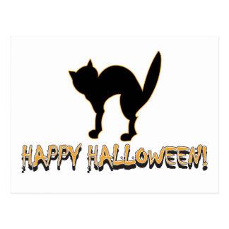 Happy Halloween Black Cat Post Cards