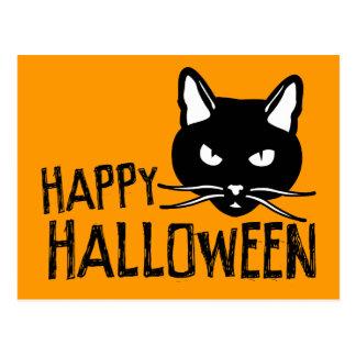 Happy Halloween Black Cat Postcard