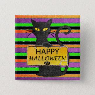 Happy Halloween Black Cat Rustic Sign Button