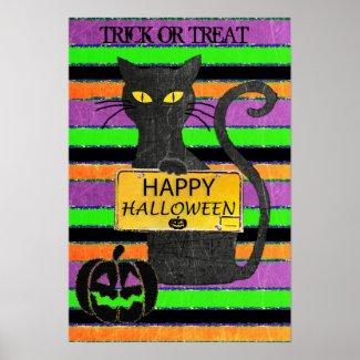 Happy Halloween Black Cat Rustic Sign Poster