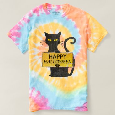 Halloween Themed Happy Halloween Black Cat Rustic Sign Shirt