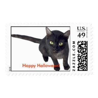 Happy Halloween/Black cat stamp