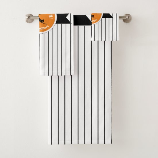 Happy Halloween Black Cat & Stripes ID686 Bath Towel Set