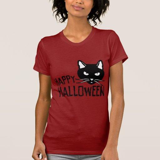 Happy Halloween Black Cat T Shirt