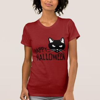 Happy Halloween Black Cat Tee Shirt