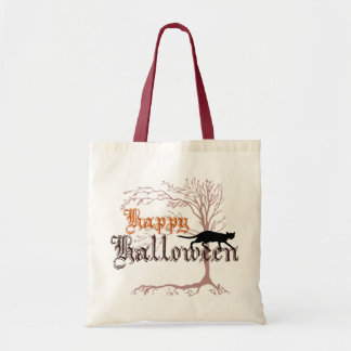 Happy Halloween Black Cat Tote Bag