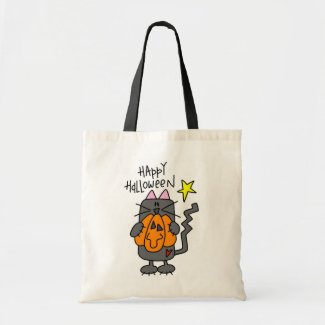 Happy Halloween Black Cat Trick Or Treat Bag by CowPieCreek