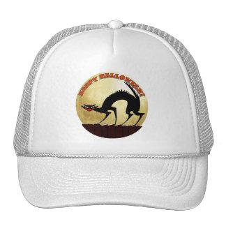 Happy Halloween Black Cat with Full Moon Trucker Hat