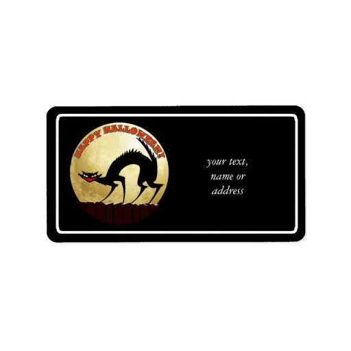 Happy Halloween Black Cat with Full Moon Personalized Address Labels