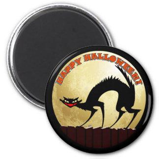 Happy Halloween Black Cat with Full Moon Fridge Magnet