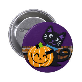 Happy Halloween Black Cat with Smiling Pumpkin Pinback Buttons