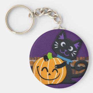 Happy Halloween Black Cat with Smiling Pumpkin Keychain