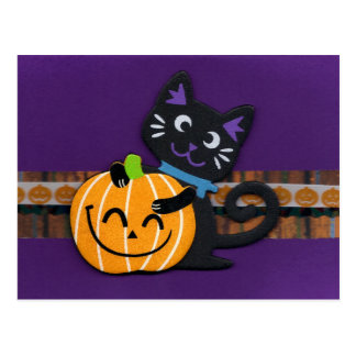 Happy Halloween Black Cat with Smiling Pumpkin Postcard