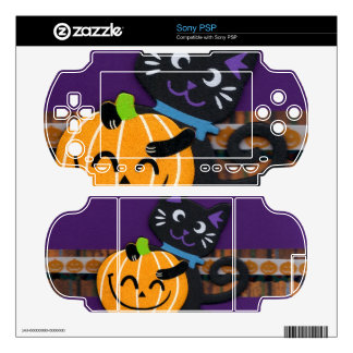 Happy Halloween Black Cat with Smiling Pumpkin Decals For PSP