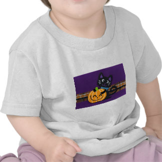 Happy Halloween Black Cat with Smiling Pumpkin Shirts