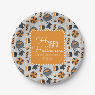 Happy Halloween Black Cats and Assorted Candies Paper Plate