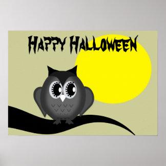 Happy Halloween Black Hoot Owl Moon Poster