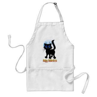 Happy Halloween Black Kitten Aprons