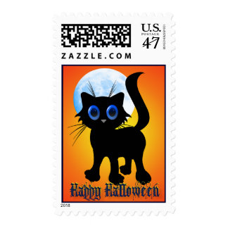 Happy Halloween Black Kitten  Postage
