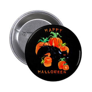 Happy Halloween Black Kitty Button