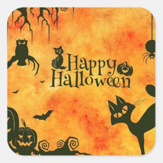 Happy Halloween Black Kitty Square Sticker