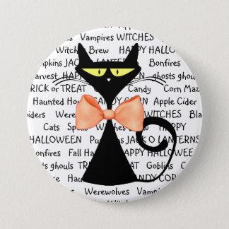 Happy Halloween Black Orange Bowtie Button