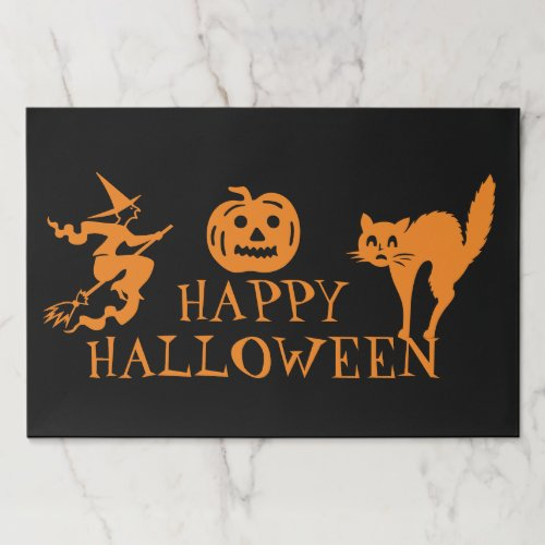 Happy Halloween black orange paper placemats
