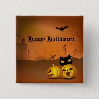 Happy Halloween Black Pumpkin Patch Cat Pinback Button