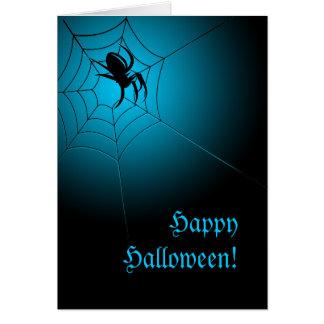 Happy Halloween Black Spider on Web Card