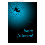 Happy Halloween Black Spider on Web Greeting Cards