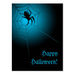 Happy Halloween Black Spider on Web Postcard