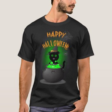 Happy Halloween Black T-shirt with Cute Black Cat