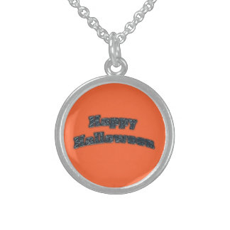 Happy Halloween black text Personalized Necklace