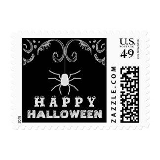 Happy Halloween Black & White Spider Postage Stamp