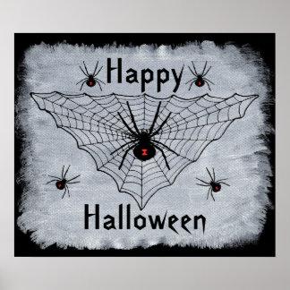 Happy Halloween Black Widow Spider Web Poster