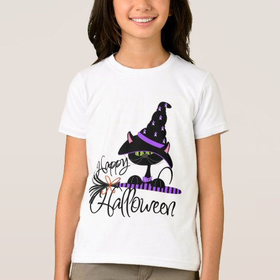 Happy Halloween Black Witch Cat Shirt