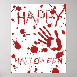Happy Halloween Blood Spatter Bloody Handprint Poster