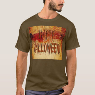 Happy Halloween Blood Stained Wall Mens T-Shirt
