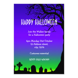 Happy Halloween blue and green cemetery glow Card