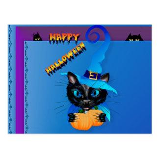 Happy Halloween-Blue Witch Kitty Postcard