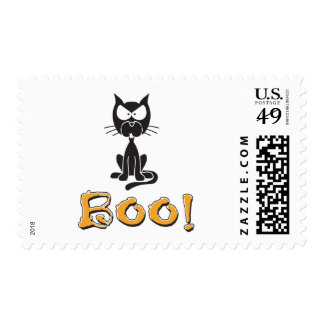 Happy Halloween Boo Black Cat Stamps