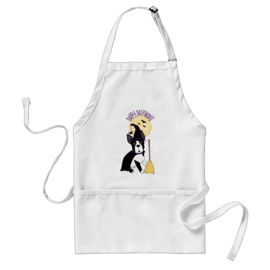Happy Halloween Boston Terrier Witch Adult Apron