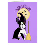 Happy Halloween Boston Terrier Witch Cards