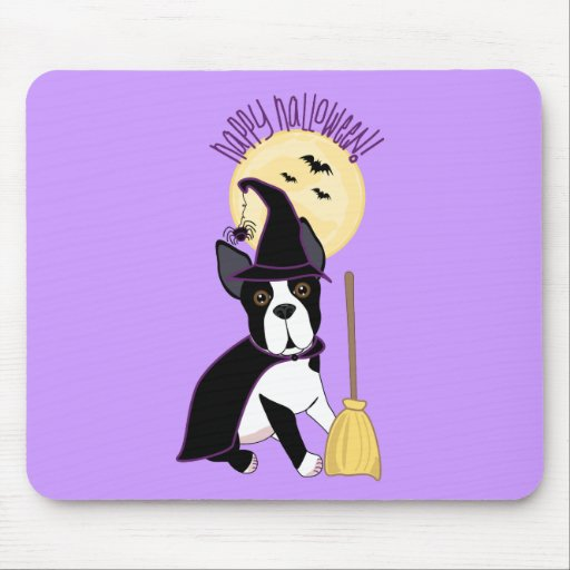 Happy Halloween Boston Terrier Witch Mouse Pad