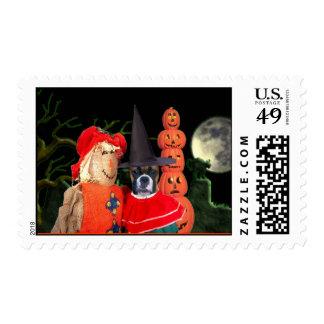 Happy Halloween boxer dog postage