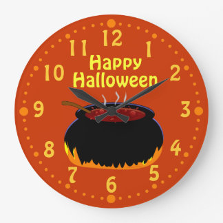 Happy Halloween Bubbling Witch Cauldron Custom Large Clock